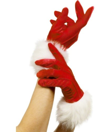Fever Women's Santa Gloves, White, One Size