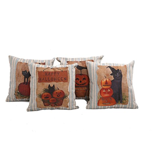 4 Happy Halloween Pumpkin Throw Pillow Sham Cushion Covers
