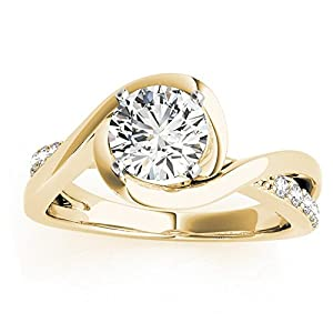 Women's Diamond Bypass Engagement Ring Setting in 14k Yellow Gold (0.13ct)