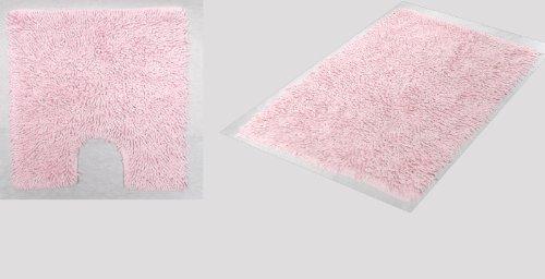 2 Piece Set Cotton Plain Twist Loops Light Pink Bathroom Bath Mat & Pedestal Toilet Rug Mat