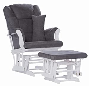 Stork Craft Tuscany Custom Glider and Ottoman with Lumbar Pillow, White/Grey