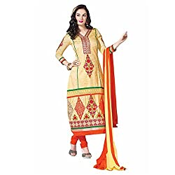 Ashika Women Cotton Dress Material (8567 _Yellow And Red _56)