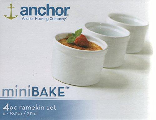 Anchor Hocking Set of 4 Mini White Ceramic Ramekins