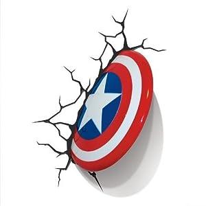 5 X Captain America Shield 3D Deco Wall Light / Nightlight from 3DlightFX