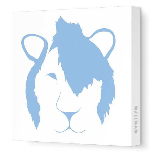 """Avalisa Stretched Canvas Nursery Wall Art, Punk Lion Face, Blue, 12"""" X 12"""" front-1055005"""