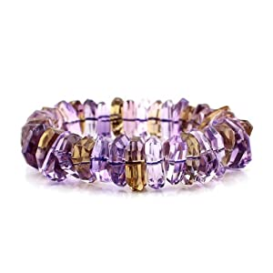 O-stone 3A Natural Rare Ametrine Sparkle Facets Bracelet 15mmI Grounding Stone Protection Very Precous Stone