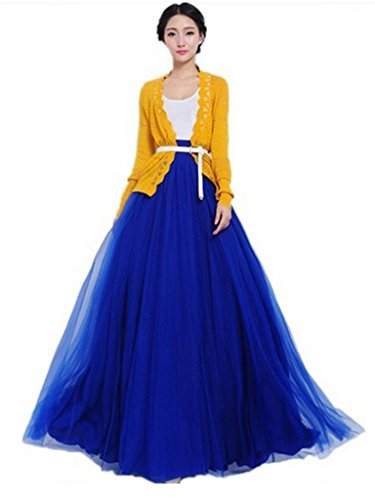 Amyila Bowknot Waist Chiffon Pleated Tiered Dress Long Maxi Skirt Gown (Blue)
