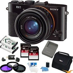 Sony DSC-RX1/B DSCRX1B DSC-RX1 DSC-RX1/B RX1 DSCRX1 Cybershot Full-frame Digital Camera ESSENTIALS Bundle with 32GB High Speed SD Cards (qty 2) Spare Lithium Batteries (Qty 2), Spare Battery Charger, Deluxe Multi Coated Filter Kit, Padded Case + More!