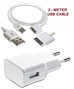 USB Wall Charger with 3 Meter / 10 FT Data / charging Cable . Made in China. AMP vary between 1 AMP to 2 AMP. For Apple iPhone 4 4S 3G 3GS iPod iPad MP3 MP4 ETC