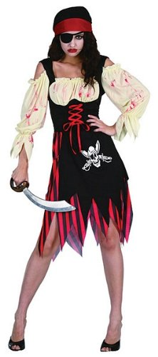 Black Red Cream Blood Spattered Pirate Lady Zombie Wench Fancy Dress Costume