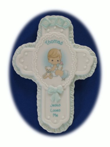 "Jesus Loves Me Personalized ""Thomas"" Porcelain Wall Cross"