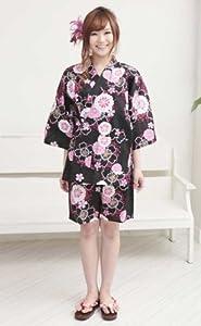【和柄黒地 日本の桜】 浴衣地 甚平 レディース M~Lサイズ