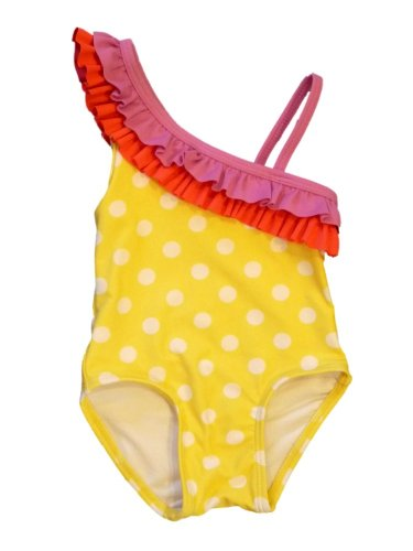 Circo Infant Girls 1 Piece Yellow Polka Dot Ruffled Swim Suit Swimming front-837375