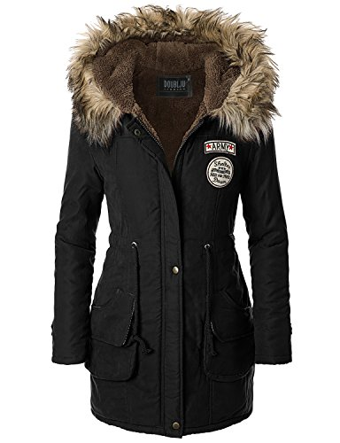 Doublju Women Soft Fabric Faux Fur Collar 3/4 Sleeve Jacket BLACK,M