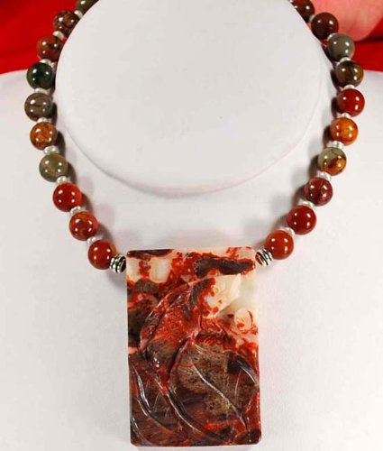 Natural Picasso Jasper Carved Bird Pendant Sterling Silver Necklace N2_0428_66