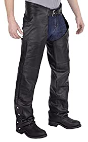 Viking Cycle Leather Chaps - Plain Motorcycle Leather Chaps (S)