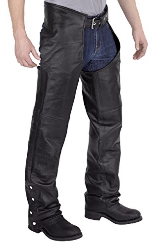 Viking Cycle Leather Chaps - Plain Motorcycle Leather Chaps For Men (L)