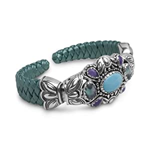 Relios Sterling Silver Multi-Gemstone Teal Leather Cuff Bracelet, Large from Relios