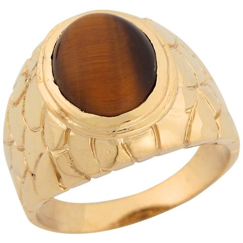 9ct Yellow Gold Tigers Eye Rich Thick Nugget Band Mens Ring