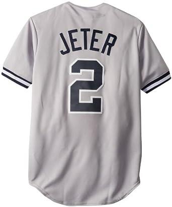 MLB New York Yankees Derek Jeter Road Gray Replica Baseball Jersey, Road Gray by Majestic
