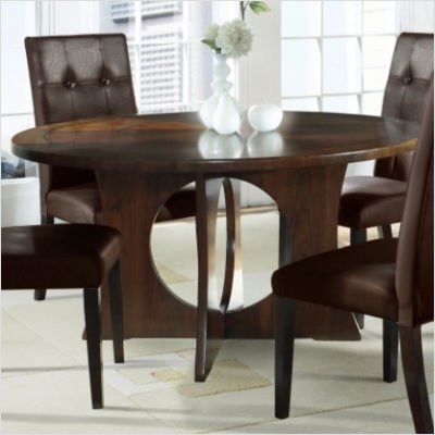 Somerton Manhattan Modern Art Round Pedestal Dining Table in Coffee Brown Finish