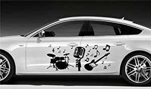 Music Instruments Guitar Drum Cute Design Car Vinyl Sticker Graphics G57