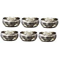 Mili Stainless Steel Bowls, Set Of 6, 6 Cm, Silver Steel
