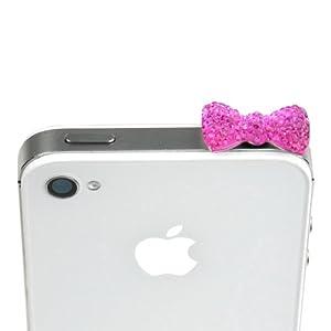 JAVOedge Sparkle Bow Charm for Headphone Jack (Opera Pink)