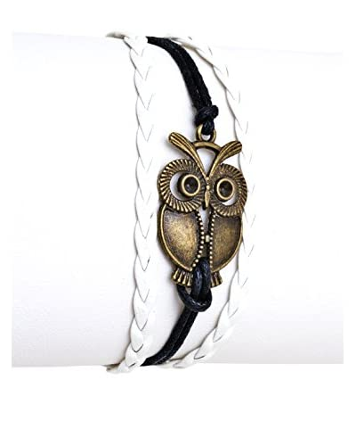 Sweet & Soft Black and White Rope Owl Friendship Bracelet