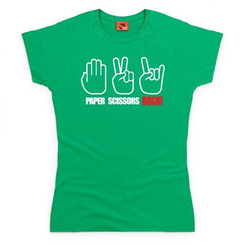 Paper, Scissors, Rock T-shirt, Donna, Verde smeraldo, 2XL