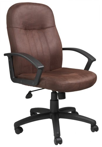 Boss Bomber Brown Microfiber Mid Back Chair Executive Seating