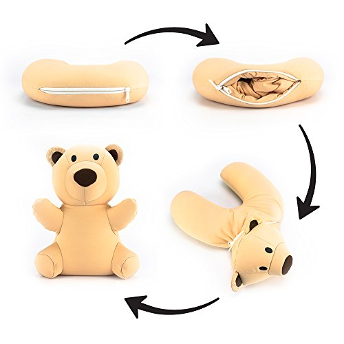 Teddy Bear Neck Pillow/Stuffed Animal Travel Pal by Satellas Perfect Travel Pillow for Any Age - Converts from Neck Pillow to Stuffed Animal