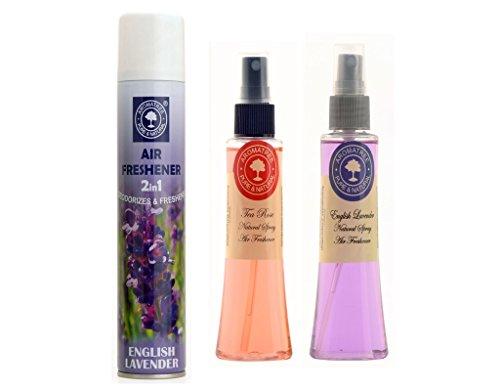 Aromatree 2in1 English Lavender Room Freshener 300 Ml And 2 Natural Air Freshener(tea Rose 75 Ml, English Lavender 75 Ml) Pack Of 3 Image