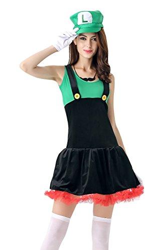 [Killreal Women's Super Mario and Luigi Halloween Costume Dress Green/Black one-size] (Best Womens Comic Con Costumes)