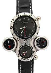 Oulm Men's Multi Display Round Black Dial Temperature Compass Watches