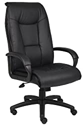 Boss Office Products Leather Plus Padded Arm and Knee Tilt Executive Chair, Traditional