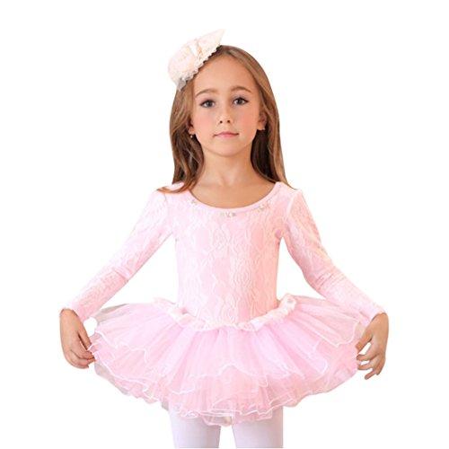 Geschenk-Idee! Spitze bedeckte rosa Ballett- Ballettröckchen-Kleid , Größe 4-8 , Preis / Stück