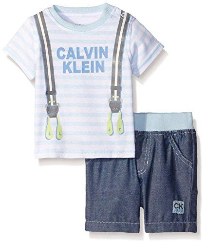 Calvin Klein Baby Boys' Interlock Top and Woven Chambray Shorts, Blue, 3-6 Months