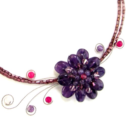 MGD, Purple Amethyst Floral Choker Necklace, 'Purple Planet'