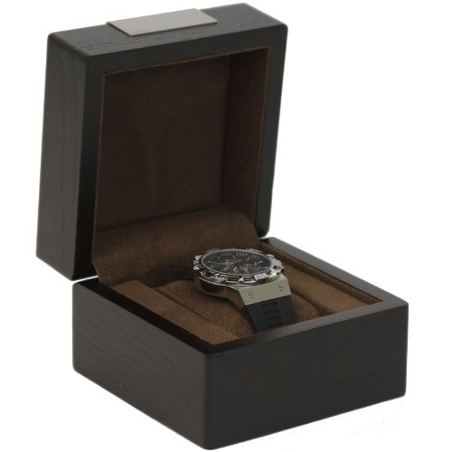 Engravable Single Watch Box 1 Extra Large Watch Espresso Brown Wood Finish Removable Cushion