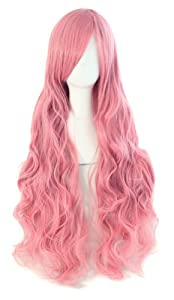 """MapofBeauty 32"""" 80cm Long Hair Spiral Curly Cosplay Costume Wig (Pink)"""