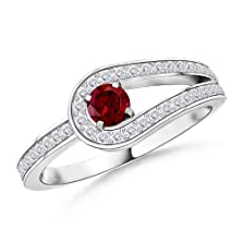 buy Solitaire Round Garnet And White Sapphire Infinity Love Knot Ring In Platinum