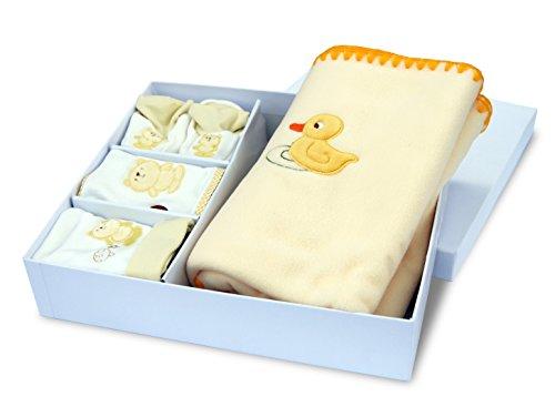 Cofanetto regalo di nascita nuovo nato bambino Plaid in pile berretto Bavaglino Pantofole baby-bow Giallo