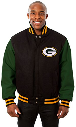 Green Bay Packers Men's Wool Jacket with Embroidered Applique Team Logos (2X) (Green Bay Packers Quad Chair compare prices)
