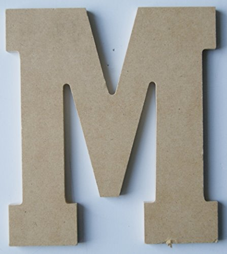 "Pressed Wood Initials Wall Decor - 8"" Block M - 1"