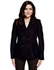 Per Una Double Breasted Pea Coat with Wool
