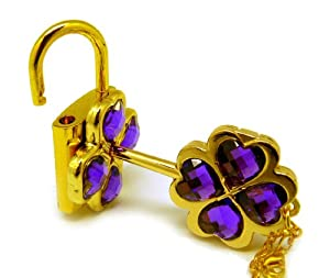 CTMWEB My Guardian Characters Golden Necklace with Purple Gem Key Lock Pendant