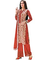 Exotic India Bone-White And Cordovan Parallel Salwar Suit With Printed Flo - Red