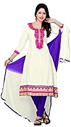 MANMAUJ Women's Cotton Unstitched Dress Material (White)