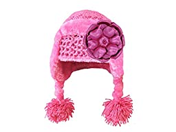 Jamie Rae Hats- Candy Pink Winter Wimple Hat with Metallic Raspberry Rose, Size: 12-18m